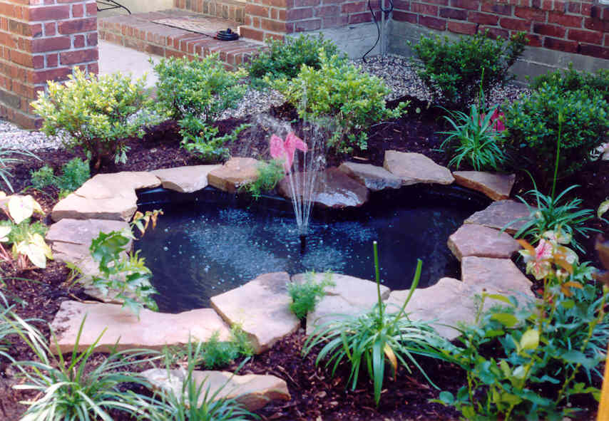 Small pond fountain car interior design Pond with fountain