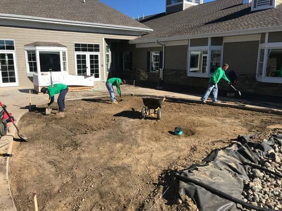 Professional lawn care specialists working on a lawn installation project.